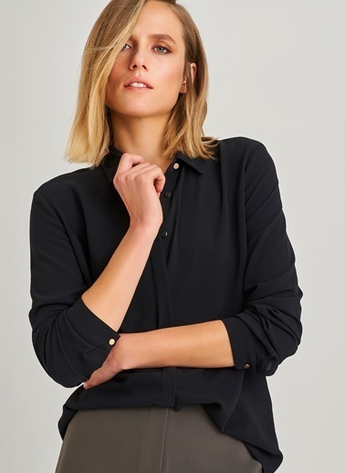 People By Fabrika Klasik Gizli Patlı Gömlek Siyah